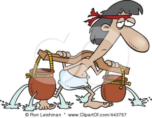 443757-Royalty-Free-RF-Clip-Art-Illustration-Of-A-Cartoon-Slave-Carrying-Holy-Water-Pots