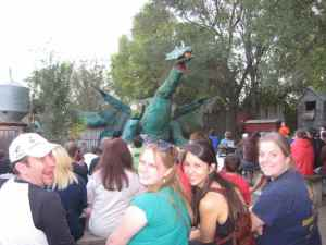 Education Director Brian introduced Kelsey, Shannon and Maddie to the famous pumpkin smashing dragon in Omaha