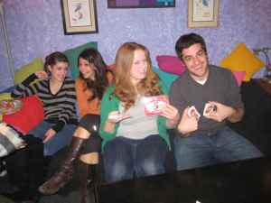 Shannon and Kelsey take on former teaching artist fellows Andy and Jennifer during a game night