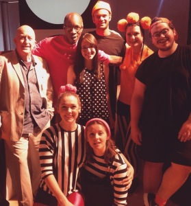 "I had an amazing time touring with the Oily Cart company. Here I am pictured with Tim Webb, Artistic Director, and the cast and crew of ""The Bounce""."